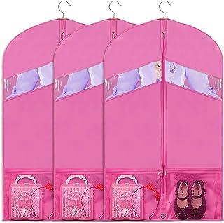 "Univivi Hanging Garment Bag 43 inch Suit Bag for Storage(Set of 6) Washable Translucent Lightweight Garment Bags for Dress Suits, Jackets, T-Shirt, Sports Coats etc, Pink, 24"" x 36"" - Pink"