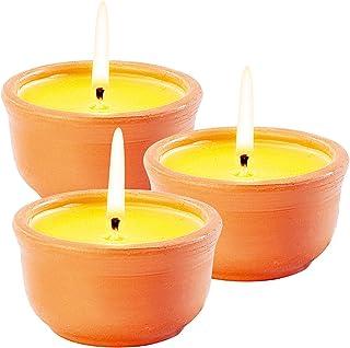 infactory Mückenkerze: Anti-Mücken-Kerzen in Terrakotta-Schalen, 3er-Pack (Anti Fliegen Kerzen)