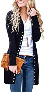 Women's Long Sleeve Snap Button Down Solid Neckline Knit Ribbed Cardigans