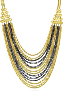 Black and Gold Flashed Base Metal Fringe Fashion Layered Necklace