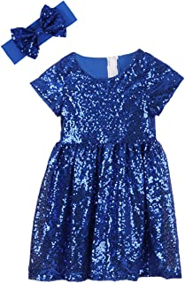Cilucu Flower Girl Dress Baby Toddlers Sequin Dress Kids Party Dress Bridesmaid Wedding Gown Birthday Dress Royal Blue 6T-7T