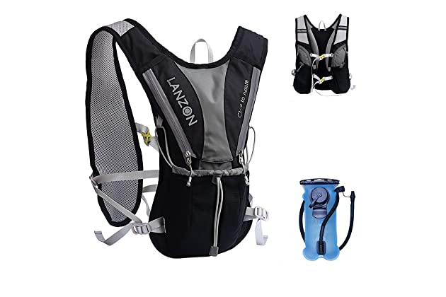 b441d1a8be LANZON Hydration Pack | 2L or 3L Water Bladder | Marathon Running Vest,  Hiking Cycling Backpack | FDA Approved, Leak-Proof Hydration Reservoir