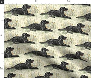 Spoonflower Fabric - Black Lab Wildflowers Landscape Labrador Retriever Dog Cream Printed on Petal Signature Cotton Fabric by The Yard - Sewing Quilting Apparel Crafts Decor