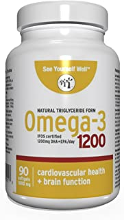 Sponsored Ad - Omega 3 - Natural State: Ultimate Strength Omega 3 Fish Oil Softgels, 1200 (90 Count). High EPA & DHA Essen...