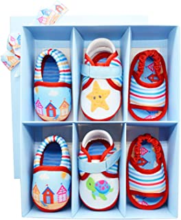 KazarMax Anti-Skid Breathable Soft & Comfortable Nautical Printed Baby Winter Unisex Pack of 3 Booties - TOOTSIES/Shoes