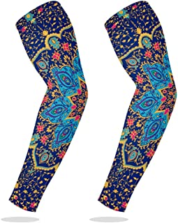 Sports Compression Arm Sleeve Cooling Sun Protection for Baseball Basketball Football Running Driving Cycling for Boys Youth Girls Kids Men Women with Blue Mandala Vector Ornament - 1 Pair