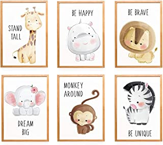 Buspoll Baby Jungle Theme Nursery Decor Pictures, 6 Pack Cartoon Safari Animals Nursery Wall Art with Inspirational Quote ...