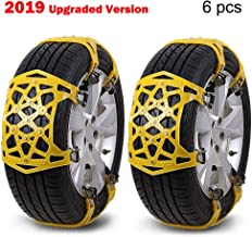 XuSha Car Snow Chains 6 PCS Anti-Skid Cables Emergencies and Road Trip Premium Quality Strong Durable Car Chains Applicable Tire Width 6.50