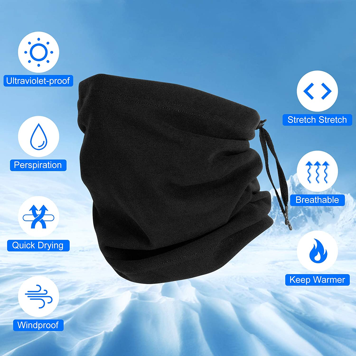 Washable Face Cover Scarf Headband Balaclava Headwear Lightweight Wind Dust Wind Protection for Men Women Breathable Winter Neck Gaiter Warmer with Drawstring onehous Bandana Face Mask Adjustable