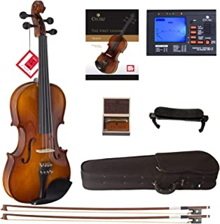 Cecilio CVN-320L Solidwood Ebony Fitted Left-Handed Violin with D'Addario Prelude Strings, Size 3/4