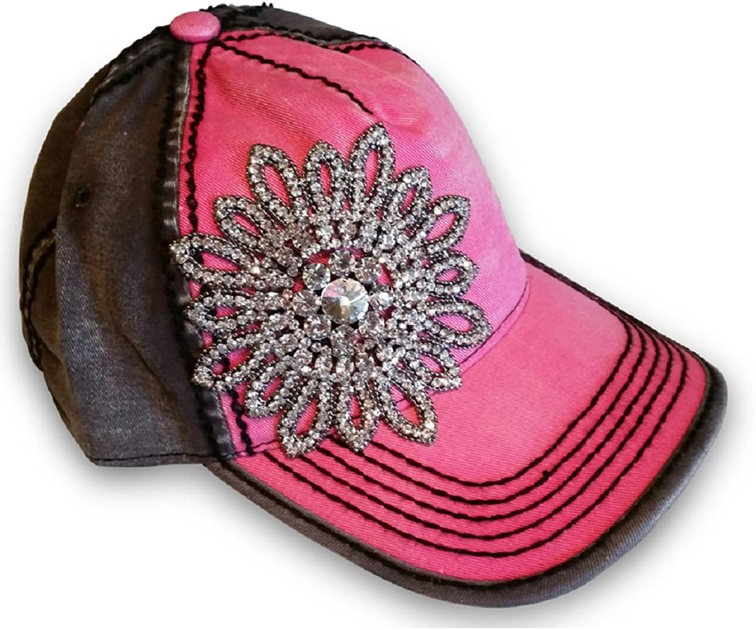 Women's Olive & Pique Large Rhinestone Flower TwoTone Ball Cap