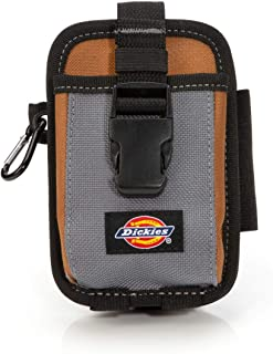 Dickies 2-Compartment Large Phone Pouch, Universal-fit Steel Clip for Tool Belt, Security Strap Over Phone, Carabiner for Quick-Clip Key Storage