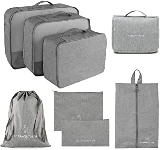 Packing Cubes for Travel, 8 Set Luggage Packing Organizer with Toiletry Bag Waterproof Fabrics (Space Grey)
