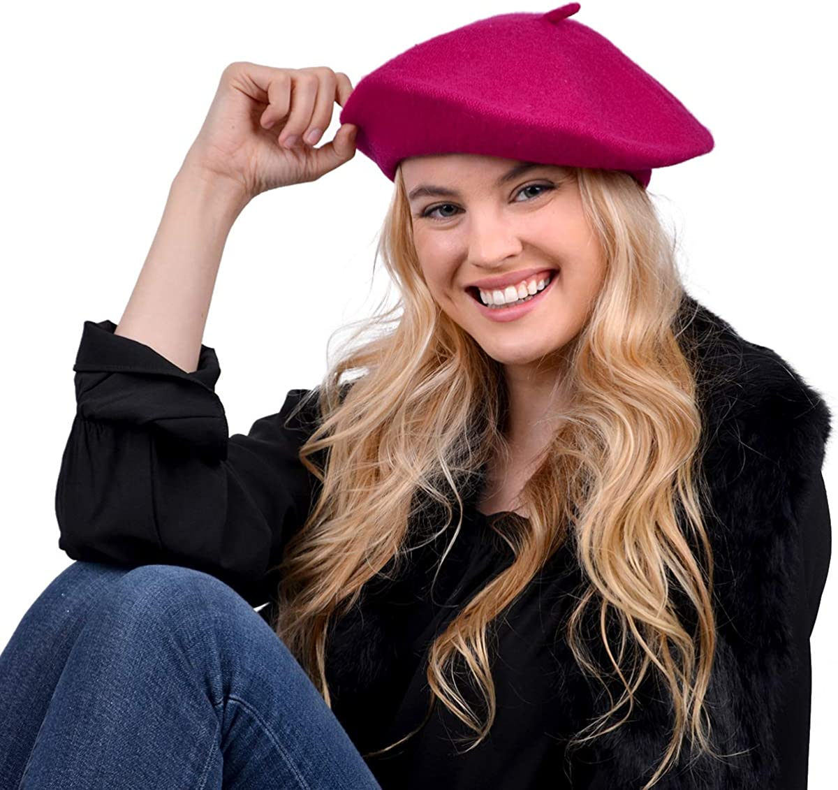 Parquet Solid Color French Wool Beret. Classic French, Casual and Chic Lightweight