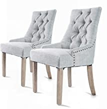 La Bella FT-FC8443-GY 2X French Provincial Oak Leg Chair Amour- Grey