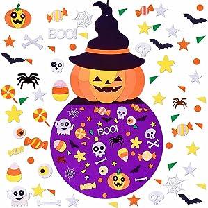 Max Fun DIY Halloween Felt Pumpkin Witch Hanging Decor for Kids Halloween Party Favors 2.8 Ft Felt Crafts Kits for Halloween Indoors Outdoors Games