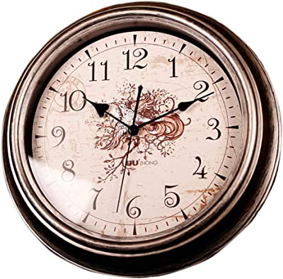 Wall Clock/Quartz Clock, Digital Retro Mute Round Clock for Living Room, Bedroom