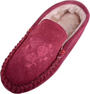 Absolute Footwear Womens Real Genuine Suede Moccasin Slippers with Floral Design