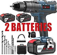CordlessDrillwith2×3000mAhBatteriesandCharger,20VCordlessDrill DriverSet with Hammer Function, 20+3 Torque Setting, 500 In-lbs Torque, 2-Variable Speed, 1/2