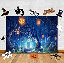 Art Studio Nightmare Trick or Treat Halloween Theme Photography Backdrops and Studio Props DIY Kit .Horror Castle Pumpkin Lantern Jack Theme Photo Booth Baby Shower Party Decoration Photo Background