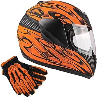 Typhoon Youth Kids Full Face Helmet with Shield & Gloves Combo Motorcycle Street Dirt Bike - Matte Orange (XL)