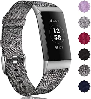 Maledan Bands Compatible with Fitbit Charge 3 & Charge 3 SE Fitness Activity Tracker for Women Men,  Breathable Woven Fabric Replacement Accessory Strap