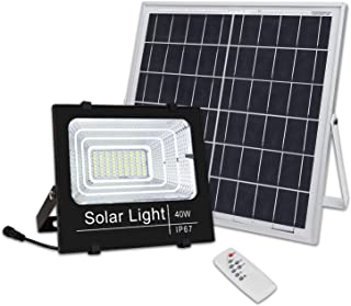 Brillihood 40W LED Solar Panel Security Light, 2000 Lumens, Ourdoor Solar Powered Floodlight Waterproof Street Light with Remote Control for Lawn, Yard, Garden, Gutter, Swimming Pool, Fencing, Pathway