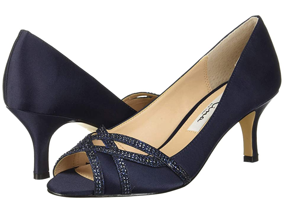 Nina Manon (New Navy Satin/Navy Glitter) High Heels