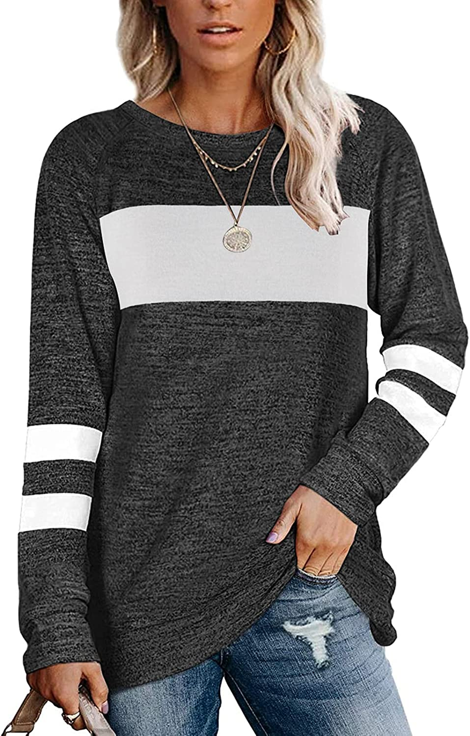 Womens Casual Tops Crewneck Stripe Block free Loose Fit Color Tshirts Same day shipping