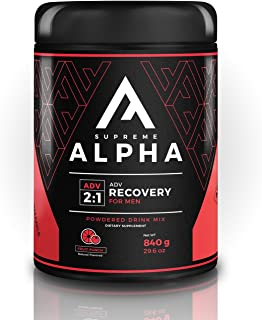 Supreme Alpha Advanced, Post Workout Recovery Supplement for Men, Muscle Builder, with Protein Powder and Carbohydrates, BCAAs, Glutamine, Vitamin D, Zero Sugar, Keto Friendly, 15 Large Servings