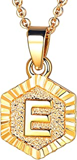 Women Girls Tiny Hexagon Initial Necklace Platinum/18K Gold Plated Name Alphabet Jewelry Dainty Letter Pendant Embossed Grain Monogram Necklace A to Z