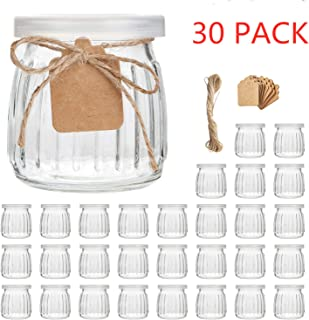 Glass Jars,Encheng 7 oz Glass Yogurt Jars With Lids(PE),Replacement Glass Pudding Jars With Plastic Tops,Clear Glass Yogurt Container With Twine n Tag For Milk,Jams,Jelly,Mousse,Dishwaresafe 30 Pack �