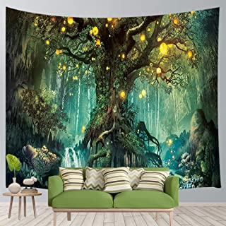 JAWO Fantasy Forest Wall Tapestry A Large Life Tree in Forest with River Bedroom Living Room Dorm Wall Hanging Tapestry Blanket for Wall Decor 3D Print Art Tapestry 71x60 inches