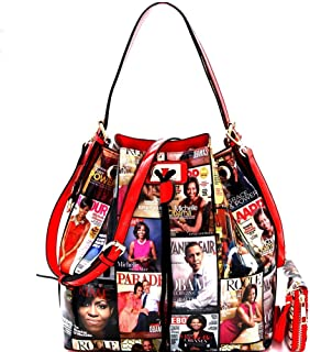 Magazine Cover Michelle Obama Drawstring Bucket Hobo Handbag Wallet SET