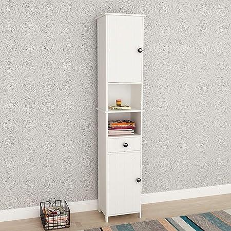 dlandhome h175 x l35 x p30 cm meuble colonne de salle de bain armoire haute etageres de rangement avec 2 ports 1 tiroir aussi pour salon couloir