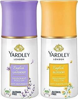 Yardley London English Lavender Anti Perspirant Deodorant Roll On for Men & Women, 50ml & Yardley English Blossom Deodoran...