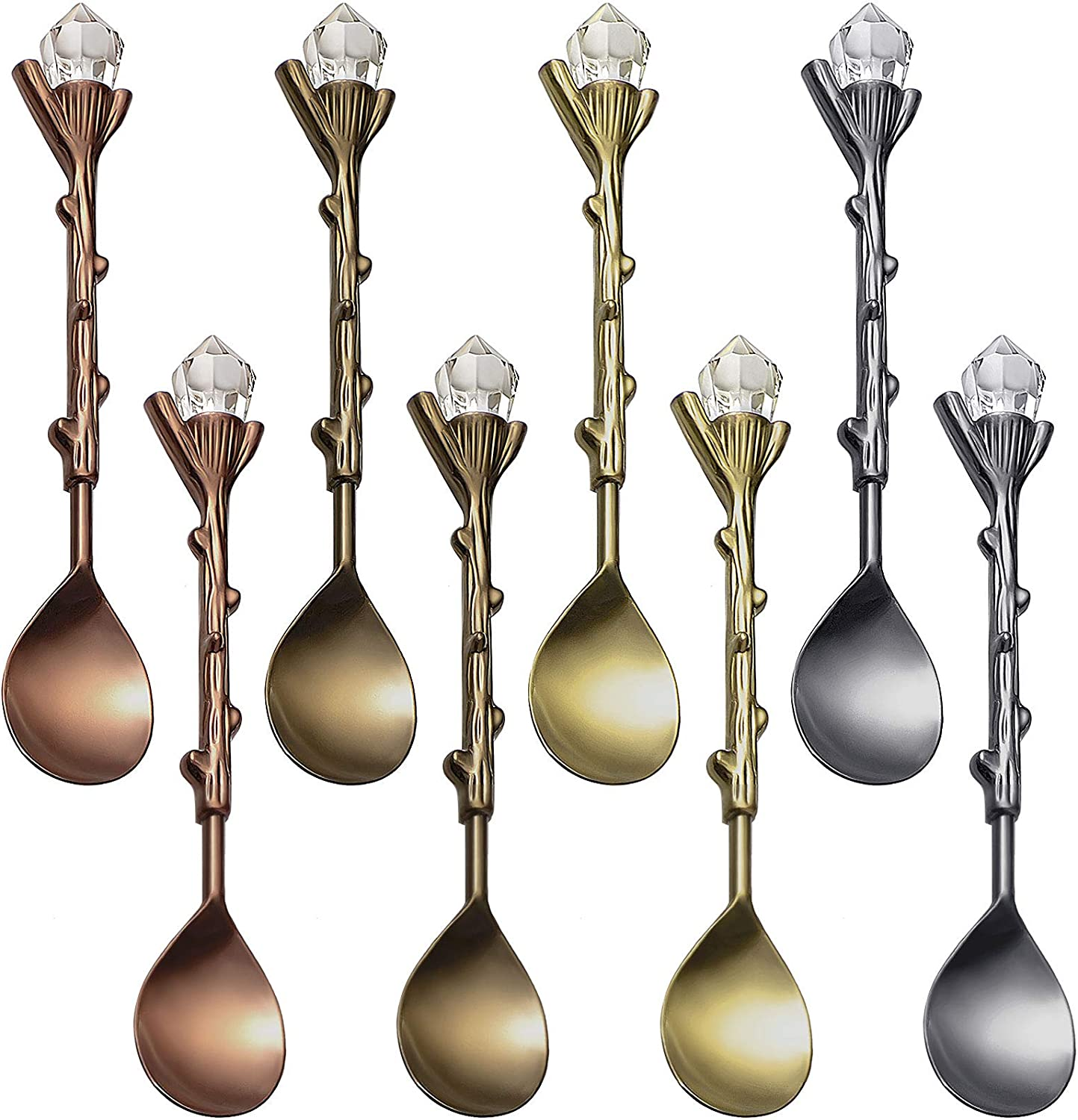Retro Coffee Tea Mini Ice Cream Dessert Crystal Spoon Tea Spoons Fancy Little Spoons Scoop Crystal Head Stirring Spoons Dessert Ice Cream Scoop for Cafe Home Office Bar Gadgets, 4 Colors (8 Pieces)