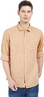 Solemio Cotton Linen Blend Brown Solid Shirt for Mens (SH1033EBR)