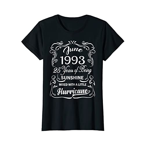 Womens Sunshine June 1993 25th Birthday T Shirt Funny Cute Tee
