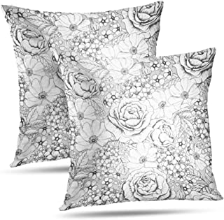 LANURA Pattern Throw Pillow Cover, Gray Flower Floral Pattern Black Rose 18x18 Inch Set of 2 Decorative Throw Pillow Cases Cushion Covers Decorative Pillow Covers Standard Pillowcase Car Bed,White