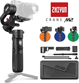 Zhiyun Crane-M2 3-Axis Handheld DSC Smartphone Universal Gimbal Stabilizer Compatible with Sony 6400 GoPro Hero 7 iPhone X Max etc. Mirrorless Digital Camera/Action Cam and Mobiles [720g Max Payload]