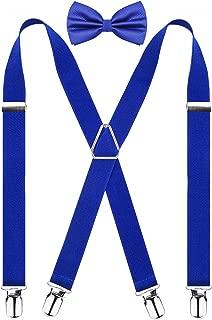 Men's 4 Clips Suspenders and Pre Tied Bow Tie Set Solid Color