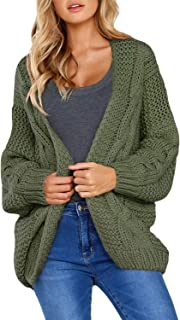 CILKOO Womens Open Front Long Sleeve Thin Knit Cardigan Sweater Green US4-6 Small