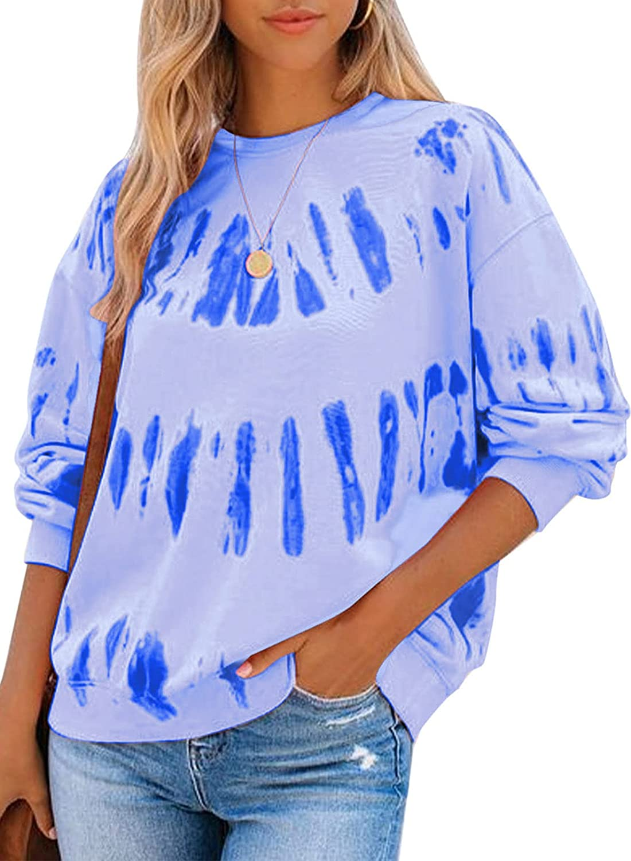 Happy Sailed Womens Tie Dye Sweatshirt Casual Long Sleeve Crew Neck Pullover Tops(S-XXL)
