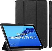 EasyAcc Cover Custodia per Huawei MediaPad T5 10 2018, Ultra Sottile Smart Custodia Cover in Pelle PU con Supporto Funzione per Huawei Mediapad T5 10 Pollici 2018 Tablet, Nero