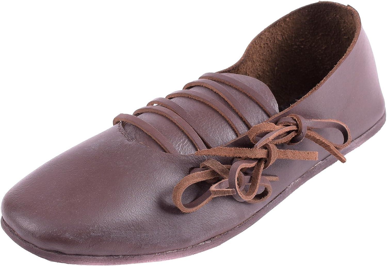Ulfberth Mittelalter Schuhe - Schnürschuhe, Spätmittelalter aus Leder - braun - Größe 36-46 - Damen Herren LARP Frauen B00SV52ESM  Niedrige Kosten