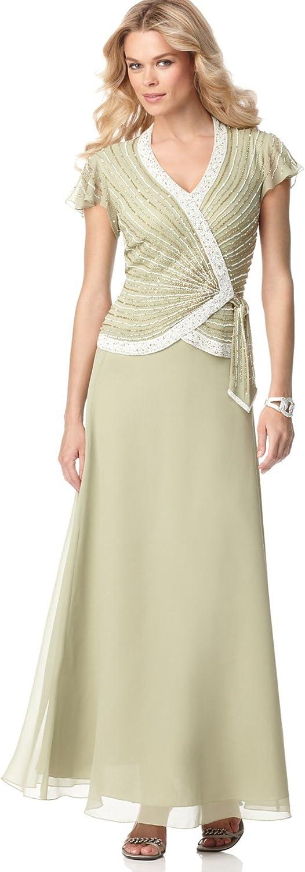 J Kara Women's Faux Wrap Long Dress W/Flutter Sleeve