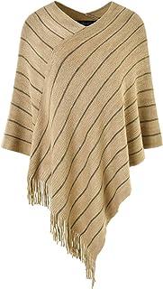 Ferand Chic Pull Capa Poncho para mujer a rayas de punto en diferentes tipos de cuello