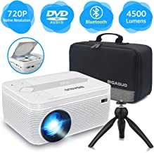 BIGASUO [2020 Upgrade] Bluetooth Full HD Projector Built in DVD Player, Portable Mini..