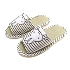 3bb7d6eca36 Natural Bamboo House Slippers with Bunny Available Four Sizes .